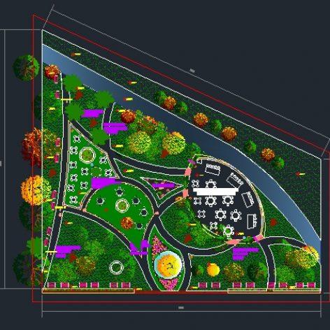 نقشه جامع اتوکد محوطه سازی پارک
