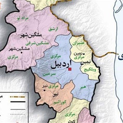 نقشه شهرستان های استان اردبیل