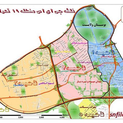 دانلود نقشه GIS منطقه ۱۹ شهر تهران
